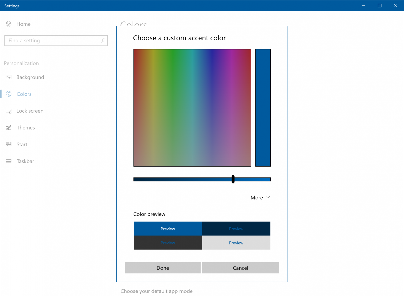 Accent color picker